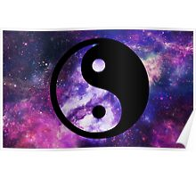 Yin Yang with Galaxy Background Poster