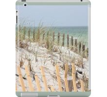 Ocean beach, sand dune, and protective fence iPad Case/Skin