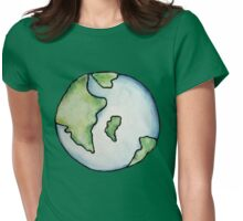 Earth watercolor art for earth day Womens Fitted T-Shirt