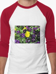 Purple And Yellow Flowers Men's Baseball ¾ T-Shirt