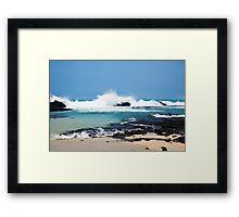 Hawaiian Coast Ocean Waves Rocky Beach Landscape Framed Print