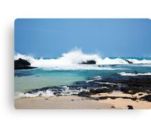 Hawaiian Coast Ocean Waves Rocky Beach Landscape Canvas Print