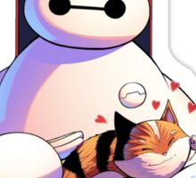 baymax with the cat Sticker