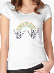 Louis Tomlinson Rainbow Hands Women's Fitted Scoop T-Shirt