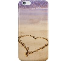 Heart Drawn In Sand Sandy Beach Ocean Waves iPhone Case/Skin