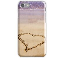 Heart Drawn In Sand Sandy Beach Ocean Waves iPhone Case/Skin