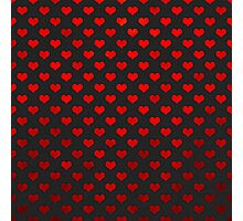 Red Metallic Hearts Polka Dot Pattern Hearts Photographic Print
