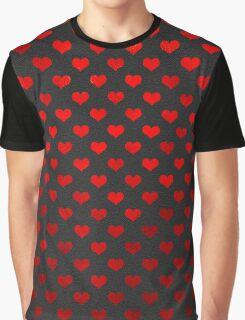 Red Metallic Hearts Polka Dot Pattern Hearts Graphic T-Shirt