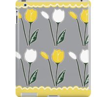 Tulips Pattern in Yellow, White, and Grey iPad Case/Skin