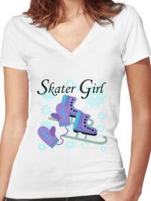 Ice Skating Skater Girl Women's Fitted V-Neck T-Shirt