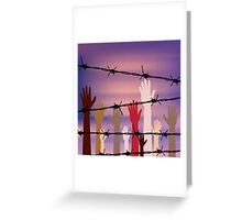 Hands Behind a Barbed Wire Greeting Card