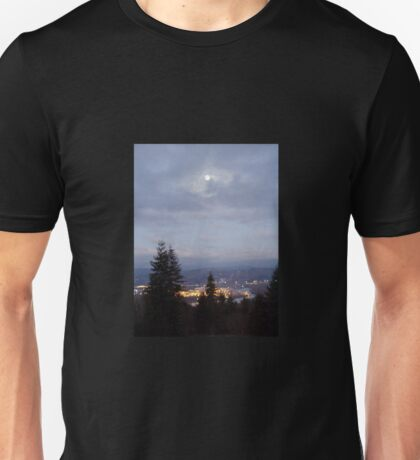 Misty Moon Over the Columbia River Unisex T-Shirt