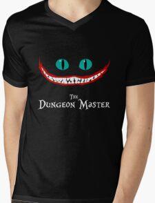 Chever Cat Dungeon Master Alice in Wonderland Joker Smile Mens V-Neck T-Shirt
