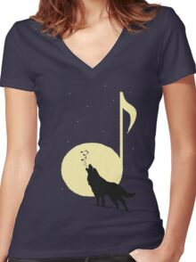 A song of Wolf and Moon Women's Fitted V-Neck T-Shirt