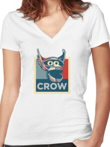 Vote Crow T. Robot Women's Fitted V-Neck T-Shirt