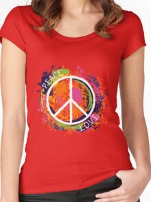 Hippie peace symbol. Peace and love. Colorful grunge style art. Women's Fitted Scoop T-Shirt