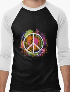 Hippie peace symbol. Peace and love. Colorful grunge style art. Men's Baseball ¾ T-Shirt
