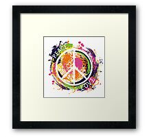 Hippie peace symbol. Peace and love. Colorful grunge style art. Framed Print