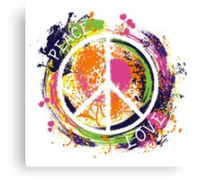 Hippie peace symbol. Peace and love. Colorful grunge style art. Canvas Print