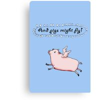 Pigs might fly, Pink pig with wings. Canvas Print