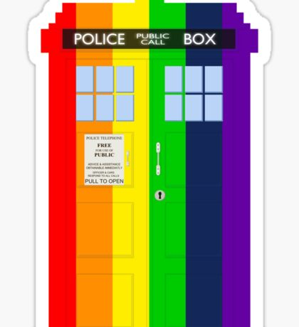 Rainbow Tardis Sticker