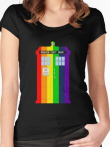 Rainbow Tardis Women's Fitted Scoop T-Shirt