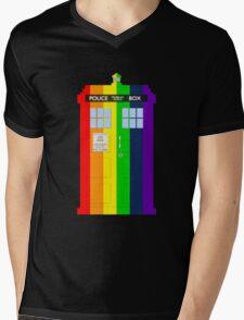 Rainbow Tardis Mens V-Neck T-Shirt