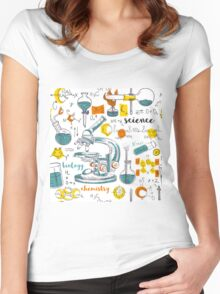 Vintage seamless pattern old chemistry laboratory with microscope, tubes and formulas Women's Fitted Scoop T-Shirt