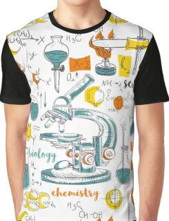 Vintage seamless pattern old chemistry laboratory with microscope, tubes and formulas Graphic T-Shirt