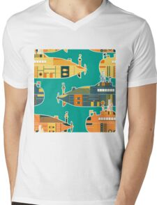 Seamless pattern with submarine Mens V-Neck T-Shirt