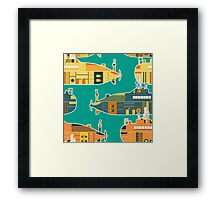 Seamless pattern with submarine Framed Print