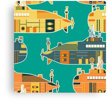 Seamless pattern with submarine Canvas Print