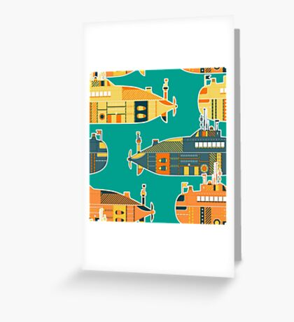 Seamless pattern with submarine Greeting Card