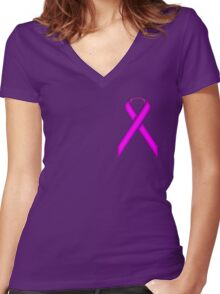 Purple Standard Ribbon Women's Fitted V-Neck T-Shirt