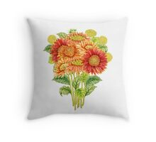 Bouquet with watercolor gerbera flower. Hand drawn illustration Throw Pillow