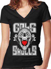 Gals love Skulls  Women's Fitted V-Neck T-Shirt