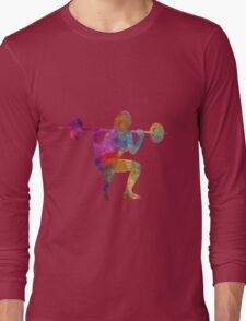 Body building woman isolated Long Sleeve T-Shirt