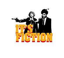 It's Fiction - Pulp Fiction Atheism Parody  Photographic Print