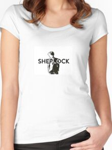 Black and white Sherlock Women's Fitted Scoop T-Shirt