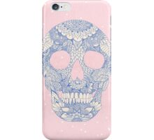 Modern blue ornate skull floral lace mandala iPhone Case/Skin