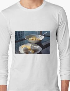 A bowl of cereals and yogurt and a plate with cheese and eggs. Long Sleeve T-Shirt