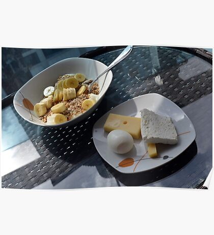 A bowl of cereals and yogurt and a plate with cheese and eggs. Poster