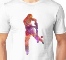 Cricket player batsman silhoutte Unisex T-Shirt