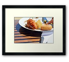 Breakfast with bagel, croissant and pastries. Framed Print