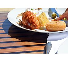 Breakfast with bagel, croissant and pastries. Photographic Print