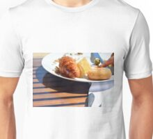 Breakfast with bagel, croissant and pastries. Unisex T-Shirt