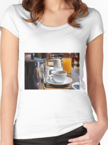 Breakfast table with coffee mug and orange juice. Women's Fitted Scoop T-Shirt