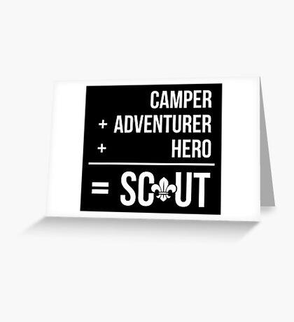 Camper, Adventurer, Hero = Scout Greeting Card