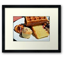 Plate with sweet pastry: waffles, cakes, croissant. Framed Print