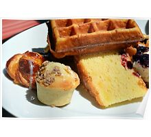 Plate with sweet pastry: waffles, cakes, croissant. Poster